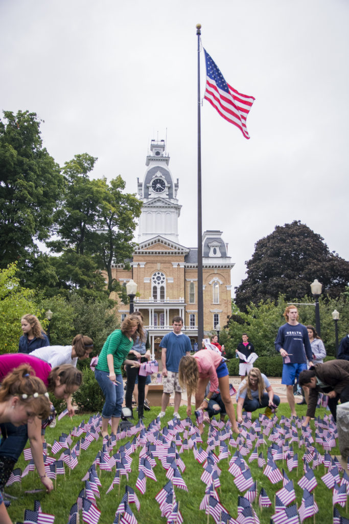 Hillsdale plant flags near Central Hall to remember 9/11.