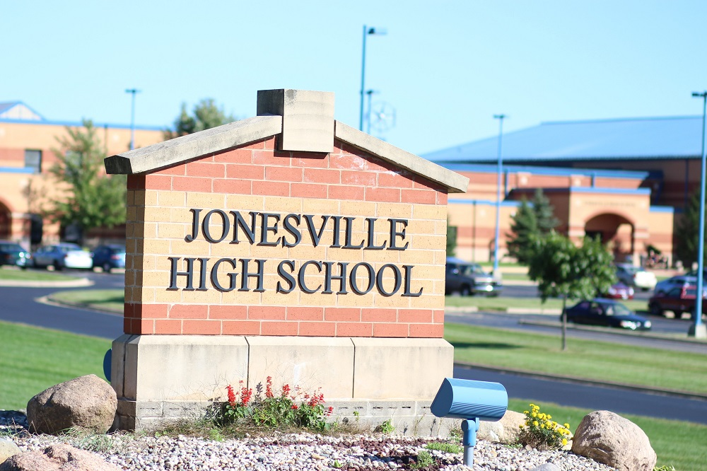 Entrance sign for Jonesville High School, which Jonesville Pathways is an alternative to. Evan Carter/Collegian