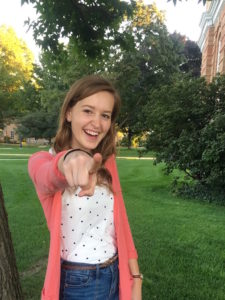 "Hannah Flemming: ""I'm so excited because I just love the people at this campus so much, and apparently, they love me too."" Clara Fishlock 