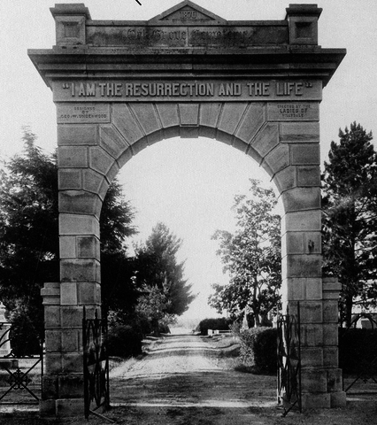 The original archway donated to the Oak Grove Cemetery by the Ladies of Hillsdale, who raised the funds by selling goods at the Hillsdale County Fair.  Carol Lackey/Courtesy