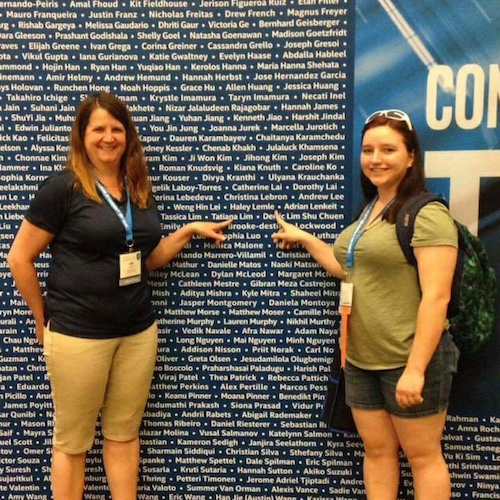Kim Salsbury and Haley Lemle, left to right, point to Lemle's name at the Intel International Science and Engineering Fair in Phoenix. Haley Lemle/Courtesy