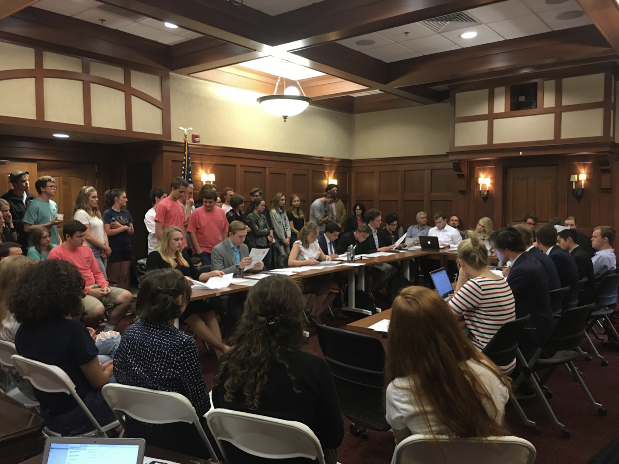 Students and faculty filled the Formal Lounge to show their support for or against the Tower Light budget increase vote at the 9/26 Student Federation meeting. Virginia Aabram | Collegian