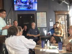 Fink meets with constituents at the brewery. Logan Washburn | Collegian