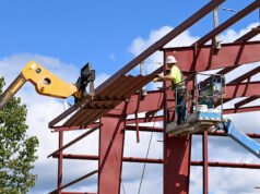 Workers construct the steel frame of the new transfer station building Sept. 10. Courtesy | City of Hillsdale