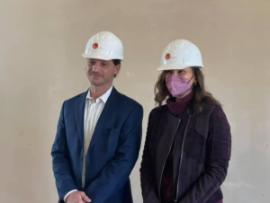 Mayor Stockford and Gov. Whitmer pose for a photo while touring the Keefer House Hotel. Courtesy | Facebook